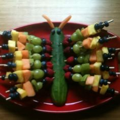 Fruit kebab butterfly for Rosie's 1st birthday, Very Hungry Caterpillar theme
