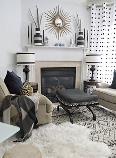 stunning black and white living room- mantle decorated for fall- modern bohemian; neutral eclectic boho fall tour - Cuckoo4Design
