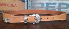 Vintage ROPER Tan Brown Genuine Cowhide Leather Western Rodeo Belt Women's L #ROPER #Western