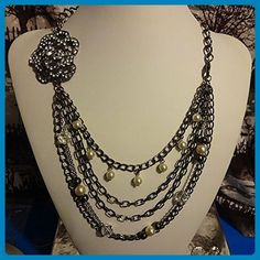 Rhinestones, Pearls & Beads Hematite Statement Necklace - Wedding nacklaces (*Amazon Partner-Link)