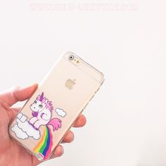 Clear Plastic Case Cover for iPhone 5 5S - (Henna) Pooping Unicorn rainbow from milkyway