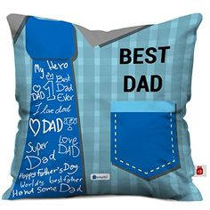 Buy Indigifts Best Dad Quote Blue Cushion Cover 12X12 Inches With Filler