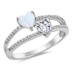 Doppelte Herzen Versprechen Ring Split offenen von BlueAppleJewelry