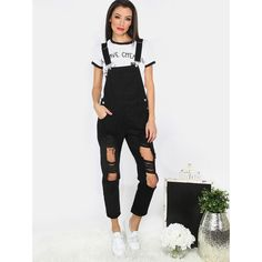 Distressed Denim Overalls BLACK ($27) ❤ liked on Polyvore featuring jumpsuits, black, bib overalls, jumpsuit overalls, striped jumpsuits, overalls jumpsuit and striped overalls