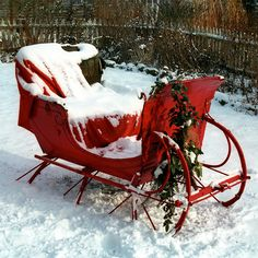 Old Red Christmas Sleigh...with pine &...snow.