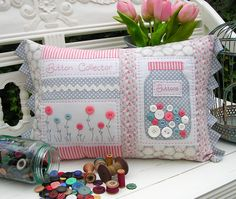 """Button Collector"" by Sally Giblin of The Rivendale Collection. Finished cushion size: 13½"" x 22"" #TheRivendaleCollection stitchery, appliqué and patchwork patterns. www.therivendalecollection.com.au"