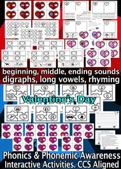 Valentine's Day – Phonics & Phonemic Awareness. CCS Aligned This product helps your students improve phonics skills through engaging, differentiated and interactive activities. Students work on beginning, middle/medial and ending sounds, digraphs, rhyming, writing and long vowels. This is a great addition to your Literacy Center/Literacy workshop for Valentine's Day. Activities may be used as independent work, for early finishers and/or as team/partner work.  #Valentine #literacy #CCSS