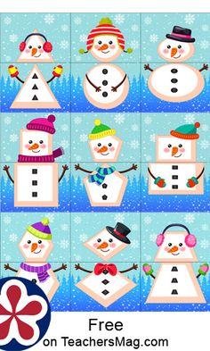 These free printables can be used to play three different variations of the snowman matching game. There are three sheets with 18 cards in total. These can create nine snowmen total with nine different shapes. Snow Activities, Christmas Activities For Kids, Christmas Crafts, Shape Matching, Number Matching, Snowman Games, Art For Kids, Crafts For Kids, Enchanted Learning