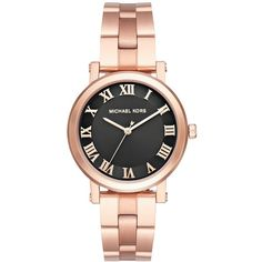 Michael Kors Women's Norie Rose Gold-Tone Stainless Steel Bracelet... ($225) ❤ liked on Polyvore featuring jewelry, watches, rose gold, bracelet watch, roman numeral watches, michael kors watches, roman numeral jewelry and michael kors