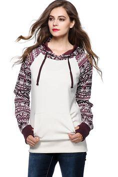 White Tribal Print Kangaroo Pocket Hooded Stylish Sweatshirt #White #Sweatshirt #maykool