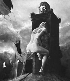 Zdzisław Beksiński (Beware of what you confess to. Arte Horror, Horror Art, Scary Art, Creepy, Les Religions, Surreal Art, Oeuvre D'art, Macabre, Occult