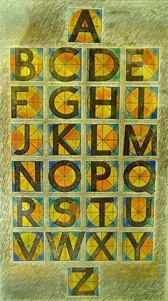 """Alphabet Study by Christie Burns;10"""" x 15""""; 3 ply Bristol, graphite, acetone transfers, pastel. Graph paper block Romans on squares divided by circles and mid lines, color added; 2002."""