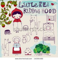 Little Red Riding Hood Fairytale - Hand drawn characters and pictorial elements of a famous fairytale, including Riding Hood's granny, wolf ...