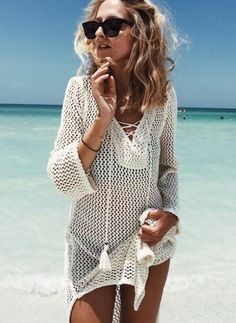 New Arrivals Sexy Kaftan Beach Cover up Crochet White Swimwear Dress Ladies Bathing Suit Cover ups Beach Tunic Saida de Praia Bathing Suit Cover Up, Bikini Cover Up, Swimsuit Cover, Sexy Bikini, Bikini Swimsuit, Bikini Beach, Bikini Dress, Bikini 2018, Summer Bathing Suits
