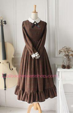 Brown Wool Doll Collar Long Sleeves Classic Lolita Dress