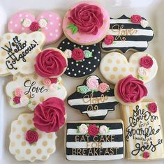 Kate spade cookies Birthday cookies Flower cookies Black and white stripe cookies