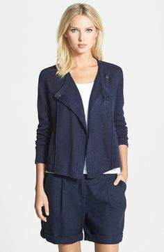 Eileen Fisher Asymmetrical  Drape Front Organic Linen Jacket available at #Nordstrom