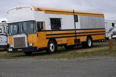 If you're just not sure what to do with that old school bus you've got laying around. Why not convert it into a monster RV. Looks like they've raised the roof on this one. Camper Caravan, Camper Trailers, Motorhome, School Bus Rv Conversion, Converted Bus, Bus Living, Expedition Truck, Motorcycle Camping, Vintage Rv
