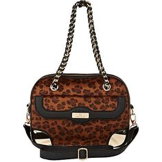 brown leopard print box bag - shoulder bags - bags / purses - women - River Island