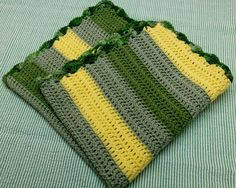 Crochet Baby Blanket Travel Size Green and Yellow by angelcasalino, $30.00