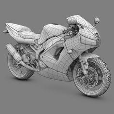 2000's Generic Sport Bike - Wireframe