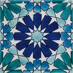 Beltile Marbella Blue Handpainted Ceramic Tile - 20 cm x 20 cm - BelTile Tile and Stone including Hexagon Tile and Subway Tile Geometric Drawing, Geometric Art, Islamic Art Pattern, Pattern Art, Motifs Islamiques, Motif Arabesque, Islamic Tiles, Painting Ceramic Tiles, Islamic Paintings