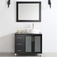 Vinnova 745036R-ES-BG Tuscany 36 in. Single Vanity In Espresso with White Vessel Sink with Glass Countertop with Mirror, As Shown