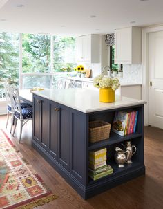 Kitchen island - Navy paint, white top, shelves, table ~ by designer RebeccaHay ~ via Desire to Inspire