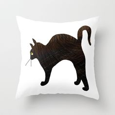 Cat 2 Throw Pillow by Verene Krydsby - $20.00 Cat 2, Moose Art, Throw Pillows, Animals, Toss Pillows, Animales, Cushions, Animaux, Decorative Pillows