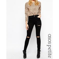ASOS PETITE Ridley Skinny Jeans in Black with Thigh Rip and Busted... ($60) ❤ liked on Polyvore featuring jeans, black, petite, ripped jeans, distressing jeans, asos, asos skinny jeans and destroyed jeans