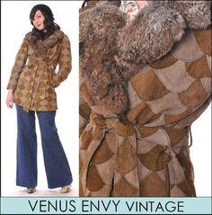 Vintage 60s 70s Patchwork Suede Leather Natural Genuine Fur Collar Jacket Coat S
