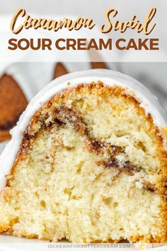 This isn't your normal cinnamon cake, we're pumping up the flavor and moistness in this one and it seriously tastes like a cinnamon roll. Have this Cinnamon Swirl Sour Cream Cake as a rich breakfast coffee cake, or have it for dessert. It's super m Cinnamon Swirl Cake, Cinnamon Cake Recipes, Pound Cake Recipes, Baking Recipes, Dessert Recipes, Baking Tips, Bread Recipes, Sour Cream Pound Cake, Sour Cream Coffee Cake