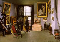 The Artist's Studio, Rue de la Condamine - Frederic Bazille Frédéric Bazille painted The Studio on the rue de la Condamine (1870). At the left, seated on a table, Renoir looks up to talk to Zola, who is on the stairs. In the center, Bazille shows Edouard Manet one of his recent works, while Monet stands behind him. Bazille's close friend Edmond Maitre plays the piano at the right. Each of these men appeared in Henri Fantin-Latour's formal group portrait, but Bazille's approach is