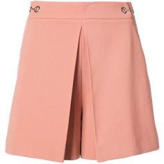 Alexander Wang High Waisted Pleat Front Shorts (1.880 RON) ❤ liked on Polyvore featuring shorts, pink, alexander wang shorts, high-rise shorts, high-waisted shorts, pink shorts and high waisted shorts