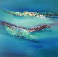 Blue Circle Painting II - Elaine Jones