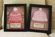 Baby hospital hats in shadow boxes