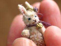 hand sewn bunny Dollhouse Dolls, Miniature Dolls, Dollhouse Miniatures, Tiny Teddies, Handmade Stuffed Animals, Bear Doll, Tiny Treasures, Vintage Easter, Felt Animals