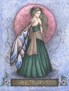 Fairy and fantasy art images, fairy pictures & drawings, flower and butterfly illustrations from Fairies World. Fairies World, Fairy & Fantasy Art Gallery - Jessica Galbreth/Taurus Fairy© Sun In Taurus, Taurus Love, Taurus Woman, Zodiac Art, Zodiac Signs, Dragons, Tarot, Earth Symbols, Astrology Taurus