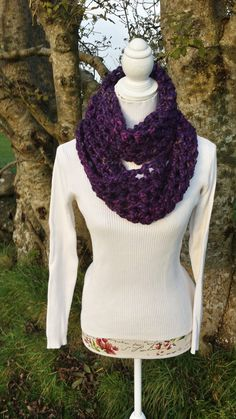 Items similar to Cowl Circle Scarf Teal Chunky Crochet Double Handmade on Etsy Chunky Crochet, Cowl Scarf, Cowls, Scarfs, Turtle Neck, Purple, Trending Outfits, Sweaters, Handmade