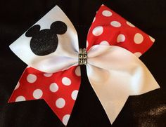 Cheer Bow Mickey Mouse tick tock by FullBidBows on Etsy