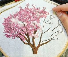 "5,150 Likes, 74 Comments - Professional Embroiderer (@delphil__) on Instagram: ""Work in progress . . . . . . . . . . . . . . #magnolia #pinktree #arbrerose #rose #pink #tree…"""