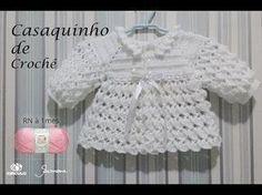 Casaquinho de Crochê para bebê tamanho RN a 1 mês Professora Simone Eleotério - YouTube