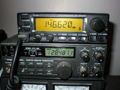 On Top: Icom IC-2000 Synthesized Two Meter FM 50 Watt Amateur Radio Transceiver.    On Bottom: Realistic HTX-100 Ten Meter CW/SSB 30 Watt Amateur Radio Tranceiver
