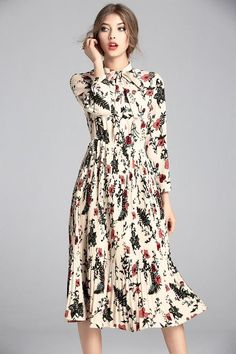 Bow Tie Neck Floral Pleat Midi Dress