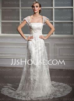Sheath/Column Square Neckline Court Train Satin Lace Wedding Dress With Ruffle Beadwork Sequins (002004755)