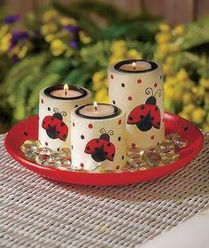 LADYBUG-TEA-LIGHT-CANDLE-TRAY-GARDEN-PATIO-TABLE-KITCHEN-CENTERPIECE-HOME-DECOR