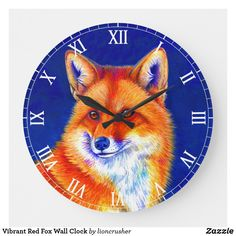 Shop Vibrant Red Fox Wall Clock created by lioncrusher. Led Alarm Clock, Dark Blue Background, Red Fox, Acrylic Art, Elephant Gifts, Hand Coloring, Original Artwork, Black And Grey, Vibrant Colors