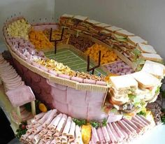 AMAZING football tailgate idea...but you need an extra 6+ hours to build it and 100 people to eat it
