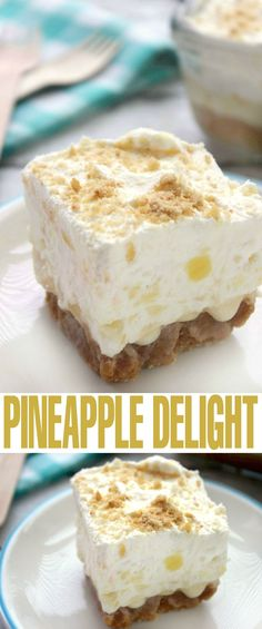Pineapple Delight is a luscious summer dessert perfect for serving guests! Unique Desserts, Desserts For A Crowd, Summer Desserts, Easy Desserts, Delicious Desserts, Summer Recipes, Pineapple Desserts, Pineapple Recipes, Mini Pineapple Upside Down Cakes