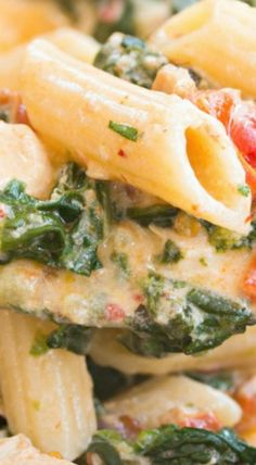 Bacon Spinach Chicken Pasta (in a creamy garlic sauce)
